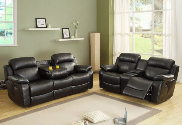 Homelegance-Marille-Double-Reclining-Sofa-w–Center-Drop-Down-Cup-Holders-in-Black-Leather-02