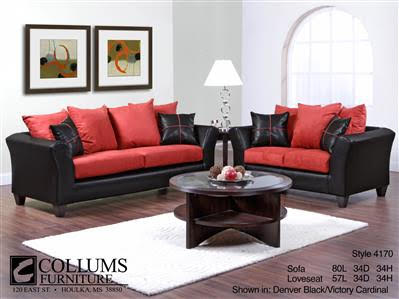 Sofa Set Black-Red